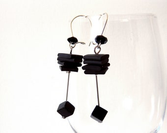 Black earrings onyx bead cube rubber earrings, geometric minimalist earrings dangle