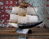 Vintage Horn Tusk Model Ship with Brass Details