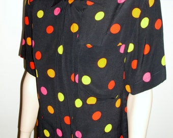 80s jones new york slouchy  large dots polka-dots