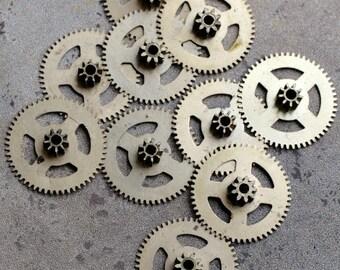 Vintage clock brass gears -- set of 10 -- D4