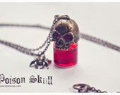 Gothic Skull poison glass bottle Necklace. SELECT YOUR COLOR. Potion bottle necklace ,Miniature bottle, poison bottle, blood bottle gothic