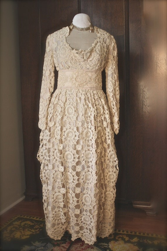 Antique crochet wedding dress sale for Crochet wedding dresses for sale