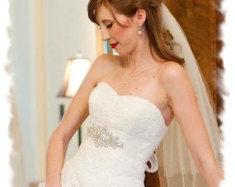 Rhinestone Crystal Bridal Sash, Rhinestone Bridal Belt, Jeweled Wedding Dress Sash, Vintage Style Crystal Wedding Belt, No. 1181S, SALE