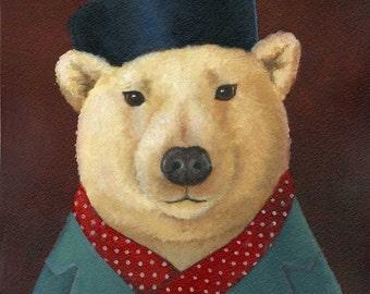Polar Bear Portrait - Red Scarf