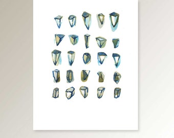 Geometric art Diamonds, geometric print, neutral wall art, watercolor neutral, giclee print