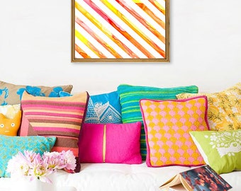 Watercolor Painting - Abstract Art Sunshine Stripes Pattern