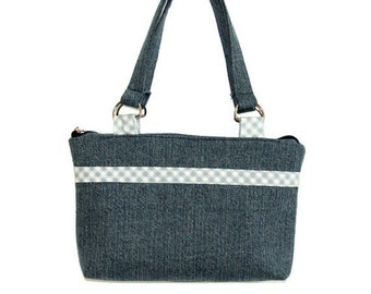 Blue Denim Shoulder Bag, Stylish and Unique Woman's Purse, Daily Handbag, Comfortable and Casual, Blue Gingham and Denim Hand Bag