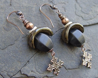 Black Raven Stoneware Crescents, Gourd Stone Bead, Quadrate Copper Cross Dangles - Gypsy, Tribal, Boho, Bohemian, Yoga,135