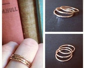 Priscilla Rings- Set of 3 Hand Forged 14K GOLD FILLED Stacking Rings- Thin/Skinny Bands- Hammered