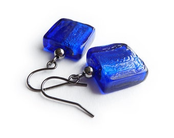 Royal Blue Earrings - Navy Blue Fused Glass Drop Earrings - Midnight Blue Square Earrings - Part of a Blue Glass Jewelry Set
