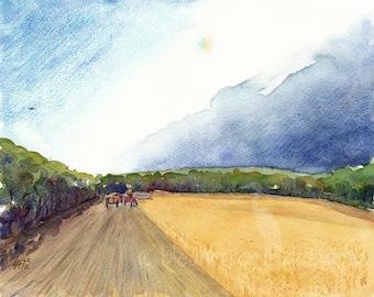 landscape watercolor- Sundog Harvest- art print