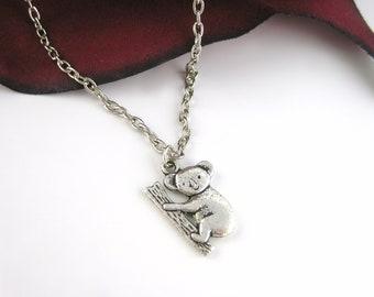 Koala Bear Necklace - Australia Necklace Silver Animal Pendant Necklace