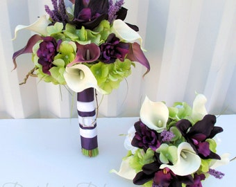 Plum Wedding bouquet - 3 piece set - Real touch Wedding flowers calla lily orchid Bridal bouquet