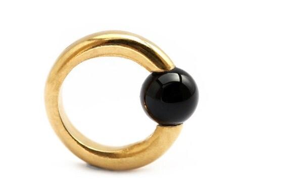 Geometric Unique ring, minimalist jewelry with black onyx stone