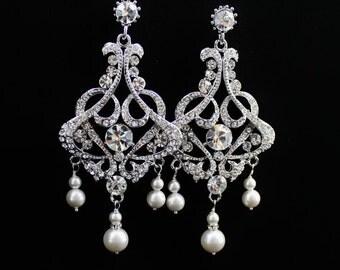 Pearl & Crystal Earrings, Crystal Chandelier Earrings, Statement Wedding Earrings, Rhinestone and Pearl Bridal Earrings, NINA - SHALIMAR
