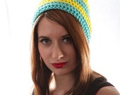 Crochet Striped Beanie Hat in Bright Yellow and Robin's Egg Blue Medium