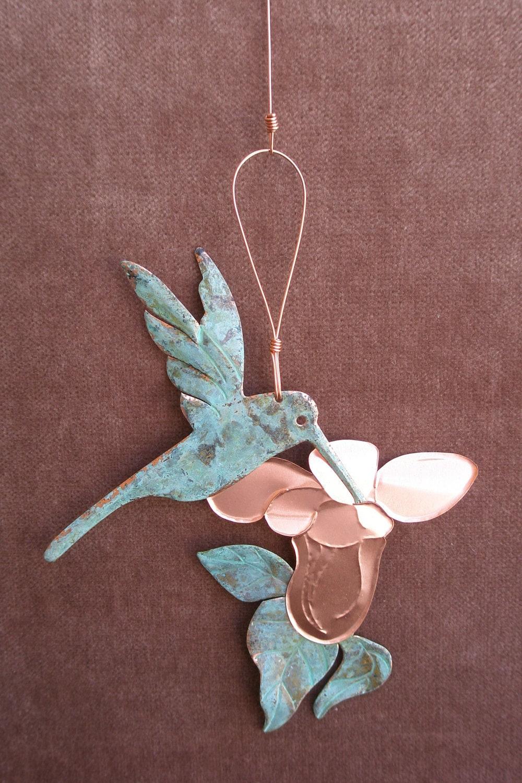 HUMMINGBIRD Copper Verdigris Ornament - Handcrafted in The Copper State (Arizona USA)