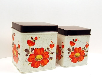 Vintage Metal Storage Tins - SET of 2