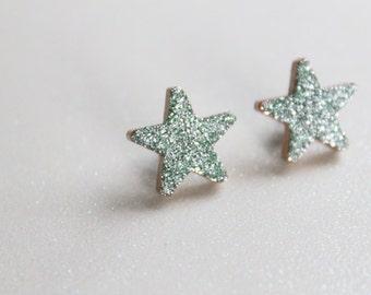 Minty Aqua Glitter Star Earrings