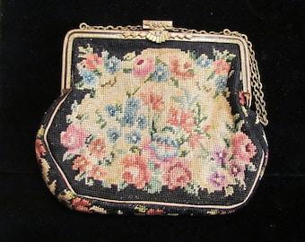 Vintage Petit Point Purse 1900s Formal Victorian Purse Antique Tapestry Handbag Marcasite Clasp