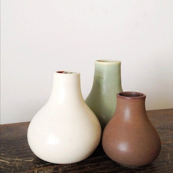 Handmade ceramic trio of vases home decor in green fern, brown and satin cream glazes - wedding gift