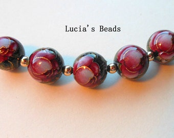 Beautiful Set of Red Rose on Black Japanese Tensha Beads  10 MM