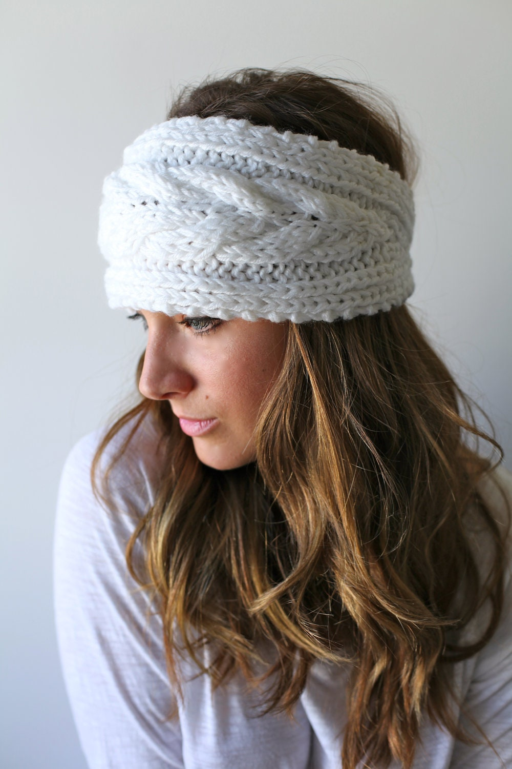 White Knit Headband Headband Ear Warmer Head Muff Braided