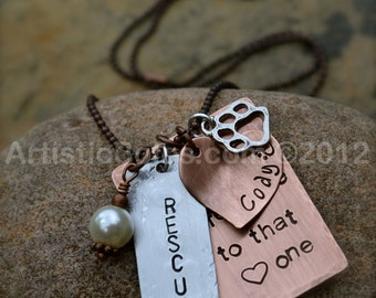 Dog Rescue Adoption Day - Custom Metal Stamped Necklace - II