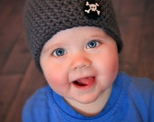 Boys Grey Beanie Hat with Black and White Pirate Skull and Crossbone Button - Baby Toddler Children Sizes Available
