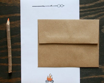 Camp Stationery: Campfire & Roasting Marshmallows, set of 12