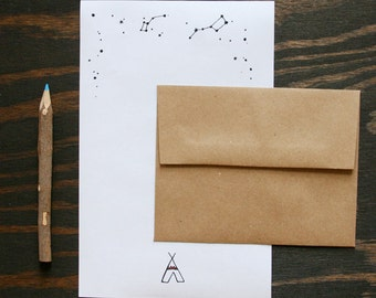 Camp Stationery: Teepee Tent & Constellations, set of 12
