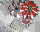 Metal Flower Wrist Corsage Candy Apple Red Silver
