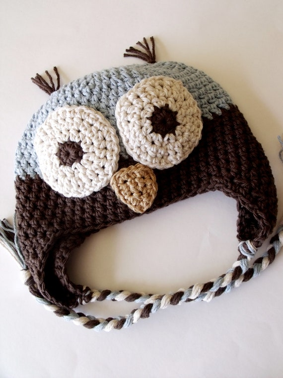 Owl Earflap Hat  / Choose Your Size and Colors