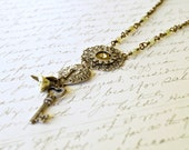 Steampunk Necklace, Vintage Style Necklace, Silver Key Necklace, Chic Green Necklace