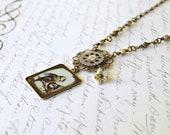 Bird Pendant Necklace, Glass Pendant, Vintage Style Necklace
