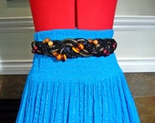 Vintage 80s Boho Wood Bead Rope and Ribbon Knotted Belt  M L