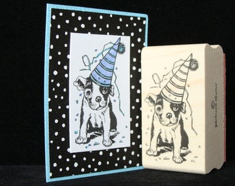 party dog rubber stamp