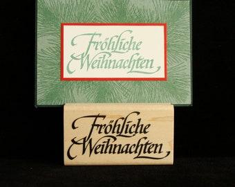 """Christmas rubber stamp  """"Frohliche Weihnachten"""""""