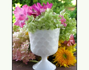 Milk Glass Planter / Wedding Milk Glass / Vintage Milk Glass Centerpiece / My Milk Glass Wedding