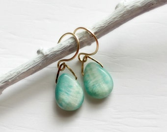 Hemimorphite Earrings, Blue Teardrop Earrings