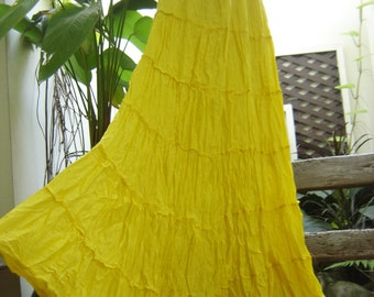 Ariel on Earth - Boho Gypsy Long Tiered Ruffle Cotton Skirt - Fresh Yellow