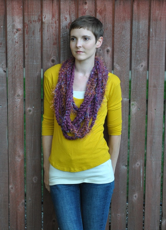infinity chain chunky cowl necklace neck warmer  - royal fig - ooak READY TO SHIP