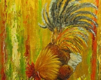 Rooster chicken canvas print Giclee of original oil painting by Sandra Cutrer Fine Art