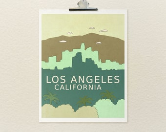 LA City Wall Art Skyline Children Decor // Los Angeles California // American West Coast Skyline Illustration Print