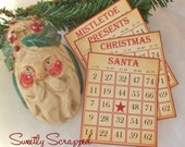 SALE Vintage Christmas Bingo Cards, Set of 4 Different Cards