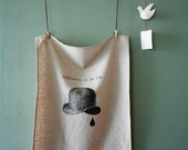 "Natural Unbleached Linen Screen-Printed Tea Towel  "" Happiness is no fun """