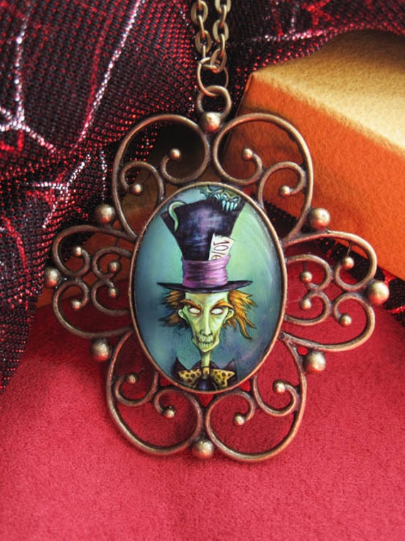 Gothic Mad Hatter, Alice in Wonderland Antique Style Pendant--Bronze Cameo Necklace