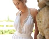 White Linen Backless Dress/Party Dress with Taupe Linen Border - Made to Order