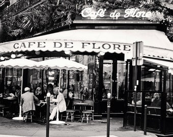 Paris Cafe Photography - Black and White Photography - Cafe de Flore Print - Parisian Home Decor Sidewalk Dining in France Wall Art