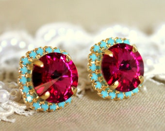 Swarovski Crystal Pink Fuchsia Turquoise Gold or Silver Stud Earrings,Pink Turquoise Swarovski Bridesmaids Earrings,Swarovski Stud Earrings